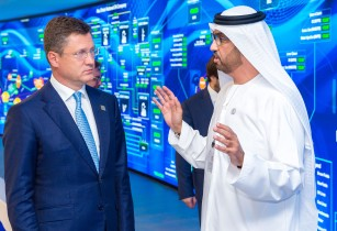 HE Dr Sultan Al Jaber with HE Alexander Novak at ADNOCs Panorama Digital Command Center