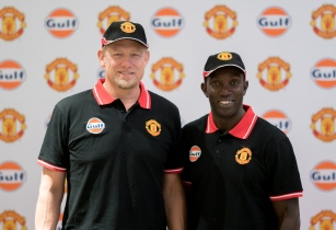 Manchester United football legends Dwight Yorke and Peter Schmeichel unveil new lubricant in Dubai