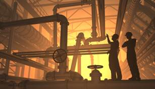 sclumberger Silhouette of worker at the plant Copyright iurii